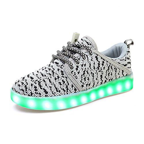 JACKSHIBO Junge Mädchen LED Leuchtend Sneakers 7 Farben Weiß