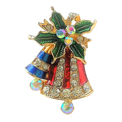(Vintage Fashion Crystal Rhinestone Christmas Bells Brooch Pin for Women (Style - Christmas Bell-1))