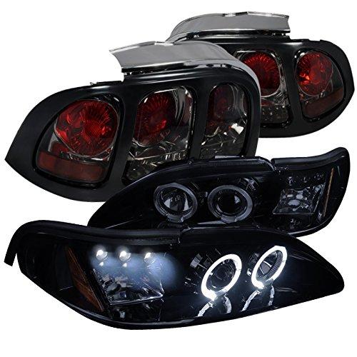 Ford Mustang Glossy Black Halo LED Projector Headlights+Smoke Tail Brake (Mustang Tail Lamp Housing)