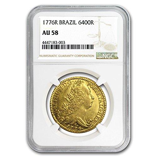 1776 BR R Brazil Gold 6400 Reis Jose I AU-58 NGC Gold AU-58 NGC