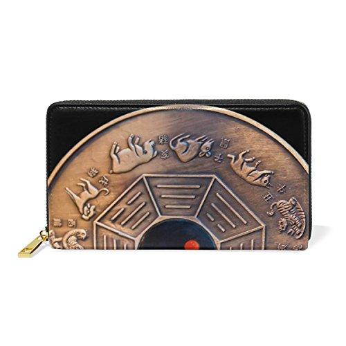 And Womens Clutch Calendar Zip TIZORAX Handbags Organizer Wallet Around Purses Lunar 7T6qY
