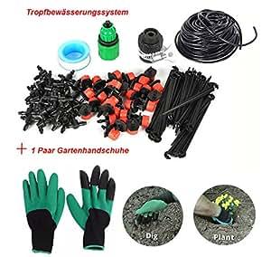 FHD DIY Auto/Manual riego sistema de riego de goteo Micro aspersor 65ft/82ft manguera de jardín, jardín guantes con mano pinza para rápido para cavar y plantación (mano derecha CLAW1par)