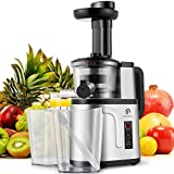 Slow Juicer Machine, Easy to Clean Masticating Juicer Extractor, Cold Press Juicer for High Nutrient Fruit and Vegetable Juice with Two Speed Settings by Kitchen Komforts
