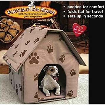 (PORTABLE DOG HOUSE - Soft, warm and comfortable and goes everywhere(Assorted colors-Tan/Blue/Red))