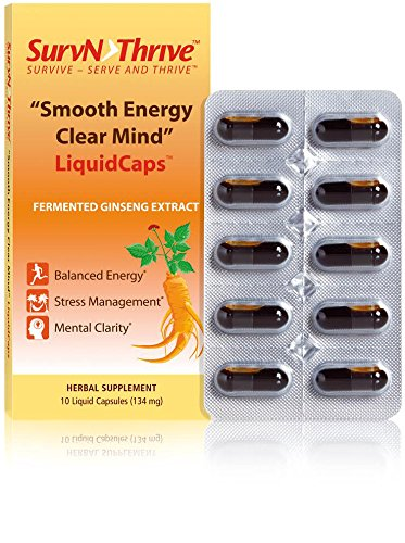 Whole Root Liquid - Ginseng LiquidCaps:SMOOTH ENERGY CLEAR MIND Premium Grade Pure Fermented High Absorption Asian Panax Ginseng Extract:Liquid in Capsules fm whole unpeeled roots Superior to:Powder/American/Red Ginseng