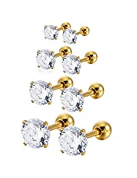 MOWOM Silver Gold Two Tone Black Stainless Steel CZ Stud Earrings Cartilage Helix Tragus Barbell