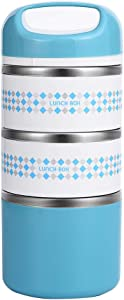 3 Layers Stainless Steel Lunch Containers with Handle, Insulated Lunch Box Stay Hot 3h, Leak-proof Food Containers for Adults, Work, School - 48 oz, Blue