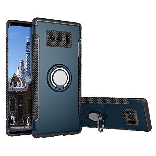 Funda Galaxy Note 8, E-Lush para Samsung galaxy Note 8 Case Cover 2 en 1 Silicona TPU y Duro Tapa Mate PC Bumper Protección Completa Anti-Scratch Ring Stand Holder Caso Choque Absorción Bumper para Sa Azul