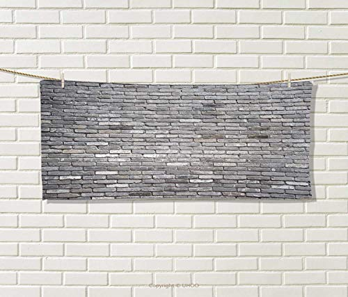 Anniutwo Grey,Travel Towel,Image an Aged Old Rough Brick Wall Obsolete Concrete Structure Ragged Surface,Quick-Dry Towels,Grey Size: W 14'' x L 27.5'' by Anniutwo
