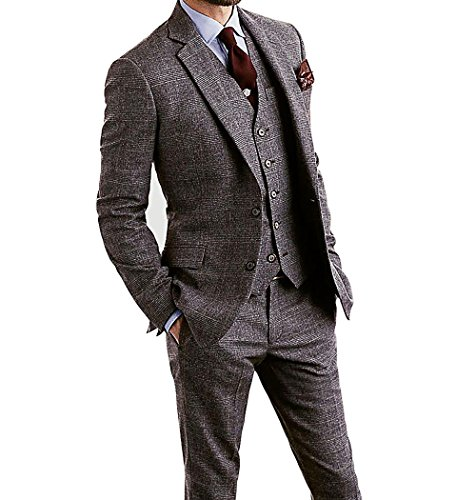 Blend Suit Jacket - Men's Houndstooth Tweed Wool Blend Grey Grid Plaid Check Tuxedos Groom Slim Fit Formal Vintage 3 Pieces Suit