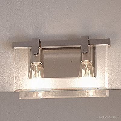 "Luxury Modern Farmhouse Bathroom Vanity Light, Medium Size: 8.38""H x 14.875""W, with Industrial Chic Style Elements, Brushed Nickel Finish, UHP2453 from the Bristol Collection by Urban Ambiance"
