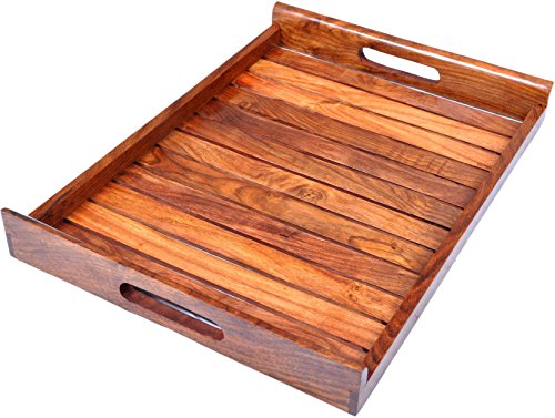 Hashcart Indian Rosewood Handmade & Handcrafted Wooden Serving Tray for Dining Tableware, Table Décor, Kitchen Serveware Accessory, Breakfast Coffee Tray, Butler Serving Trays (Beechwood Table Dining)