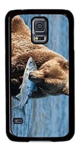 Bear Catching Fish Masterpiece Limited Custom PC Black Case for Samsung Galaxy S5 I9600 by Cases & Mousepads