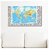 "Alonline Art - Physical Modern Flags World Map Synthetic CANVAS Not framed +GIFT 40""x24"" - 103x61cm Giclee Paintings Wall Decor Wall Art Pictures Poster Prints Paints Posters"