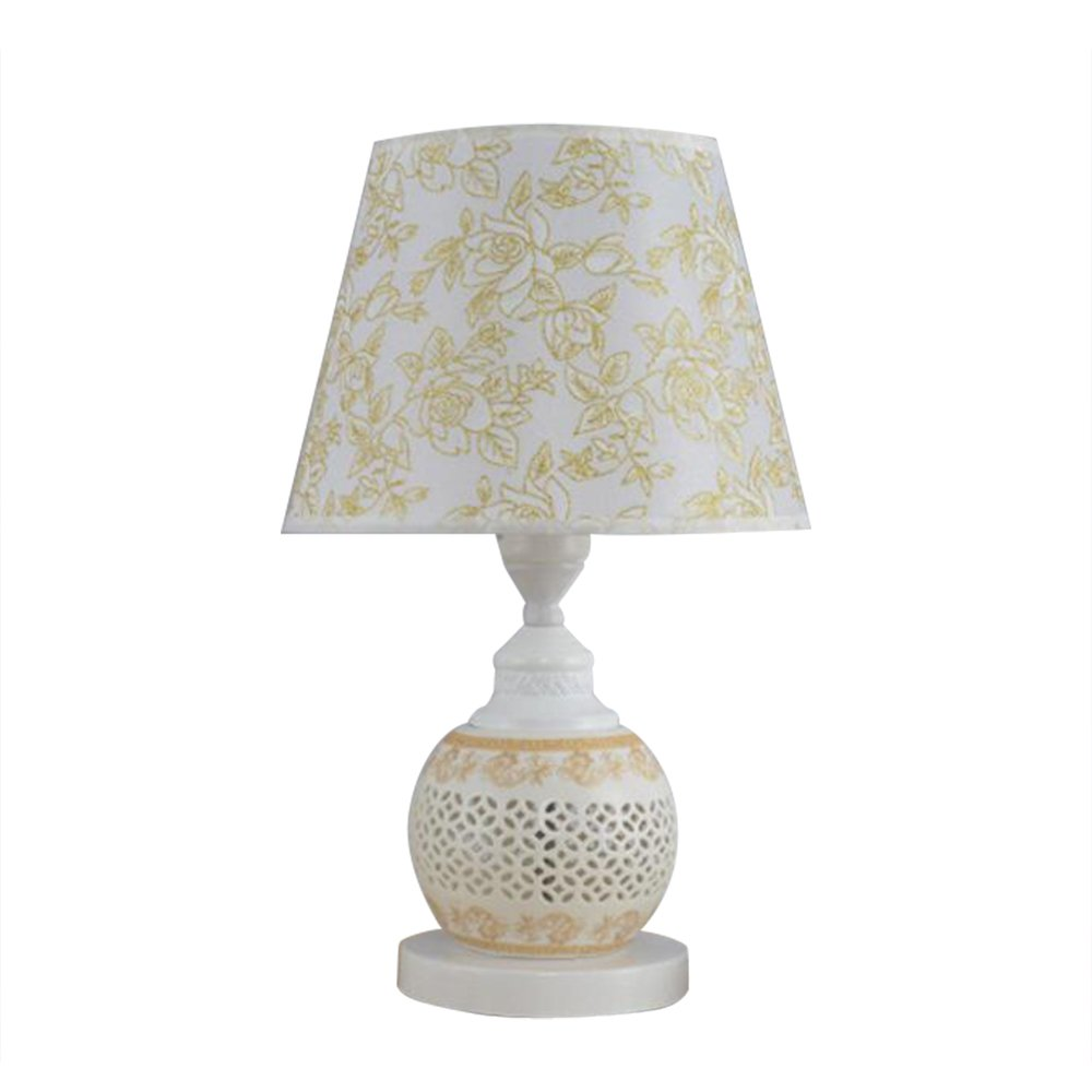 LED Table Light, Sanguinesunny Table Lamp Desk Lamp E27 Metal Ceramics Floral Peony Fabric Countryside Style 110V-220V Golden for Bedroom, Living Room, Study Room