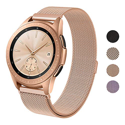 SWEES Milanese Band Compatible Samsung Galaxy Watch 42mm, 20mm Magnetic Stainless Steel Metal Replacement Band for Galaxy Watch 42mm, Gear Sport, Gear S2 Classic Smartwatch Girls Women Men, Rose Gold
