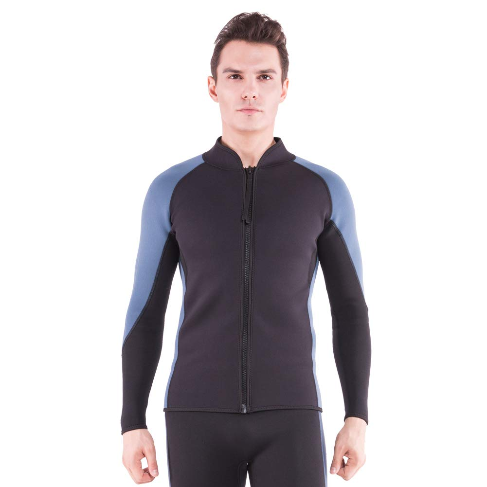 Flexel Men's Wetsuit Tops 2MM Neoprene Women Wetsuit Jacket Long Sleeves Front Zip Diving Top for Surfing Snorkeling Swimming Kayaking Canoeing (2mm Jacket Navy, Small) by Flexel