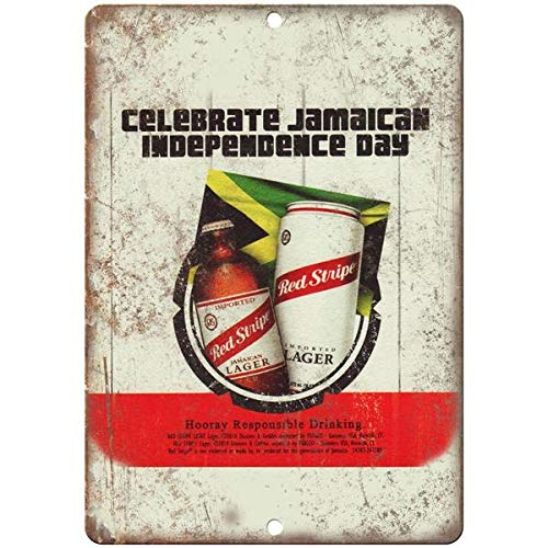 Tollyee Red Stripe Jamaican Lager Vintage Beer Ad Reproduction Metal Sign 8 X 12 inches