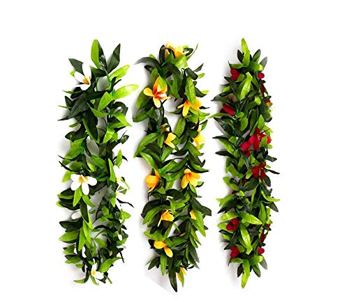 Luau Leis 3 pcs Artificial Flowers Tropical Hawaiian Lei Leaf Necklaces for Hula Costume and Beach Party -