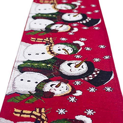 Lyperkin Handfly Cute Christmas Rectangular Tablecloths,Christmas Linen Table Runner Cover Hessian Jute Dinner Party Decoration for Buffet Table,Parties,Chrismas Party,Holiday Dinne,72x14 -