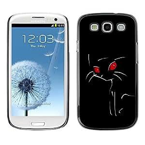 Be Good Phone Accessory // Dura Cáscara cubierta Protectora Caso Carcasa Funda de Protección para Samsung Galaxy S3 I9300 // Minimalist Red Eye Cat