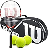 Wilson Federer Junior Tennis Racquet Set or Kit Bundled with a Kid's Tennis Bag and a Can of US Open Tennis Balls