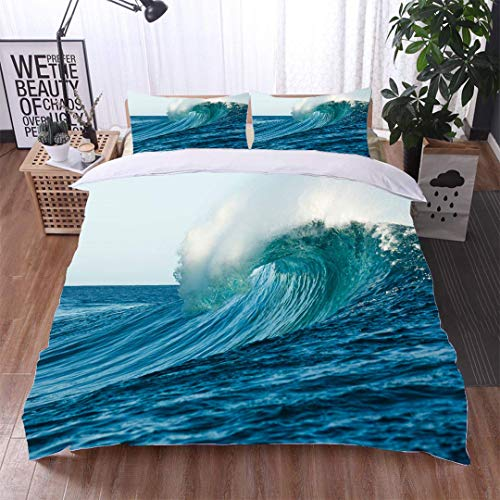 VROSELV-HOME 3 Piece Quilt Coverlet Bedspread,Tube Wave in Formation at Teahupoo Beach,Soft,Breathable,Hypoallergenic,All Season Lightweight Colorblock Kids Bedding Set ()