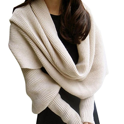 Scarf, Kimloog Women Solid Crochet Knitting Scarves With Sleeve Long Soft Wrap Shawl (Beige) (Scarf Thing)