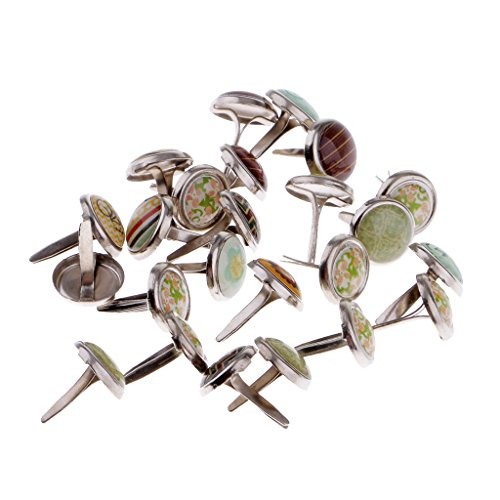 Fityle 50 Pieces Brads Paper Fastener for Scrapbooking Embellishment Paper Craft 9.5mm -