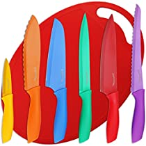 Utopia Kitchen Non-Stick Knife Set Color-Coded and Cutting Board