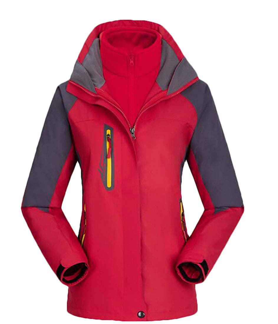 Frieed Women Windproof Mountain 3-in-1 Outdoor Hooded Waterproof Jacket Coat