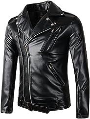 Beninos New Mens Causal Belted Design Slim Pu Leather Biker Zipper Jacket Coat
