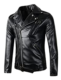 Benibos New Mens Causal Belted Design Slim Pu Leather Biker Zipper Jacket Coat