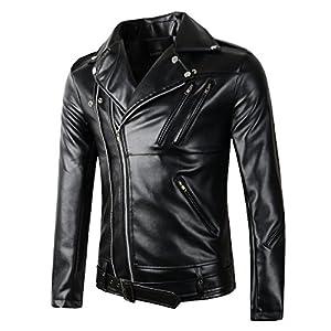 Beninos New Mens Causal Belted Design Slim Faux Leather Biker Zipper Jacket Coat