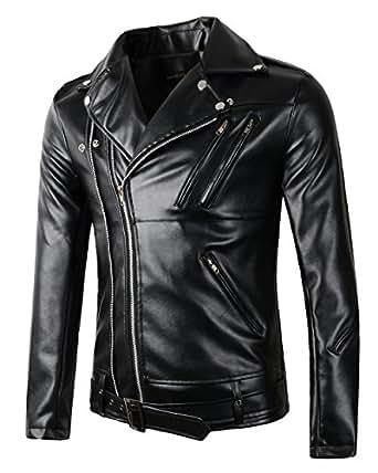 New Mens Causal Belted Design Slim Pu Leather Biker Zipper Jacket Coat (X-Small, Black)