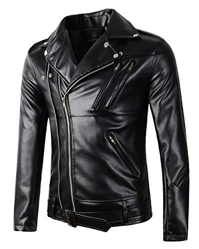 Beninos New Mens Causal Belted Design Slim Pu Leather Biker Zipper Jacket Coat (Y105, XL) Black