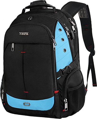 TSA Laptop Backpack,Business Travel Backpack Large Capacity for 17 Inch Notebook,Durable Computer Work Bag for Mens Women,Water Repellent Lightweight College School Bookbag with USB Port,Blue