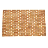 Hankey C01 Luxury Roll-Up Bamboo Bath Shower Spa Sauna Kitchen Mat (27.6 x 19.7 x 0.2 inches) Large