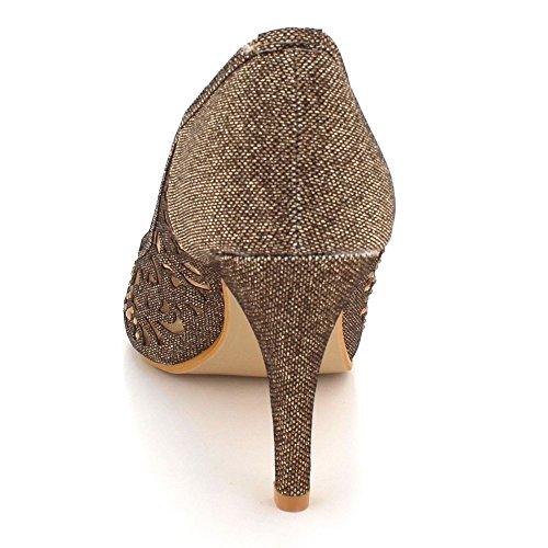 Mariage Femmes Soir des Peeptoe Diamante Bal Marron Talon Chaussures Haut Sandales de Dames Fête Taille EE54rwq