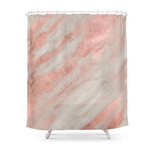 Society6 Marble Rose Gold White Foil Shimmer Shower Curtain 71 By 74
