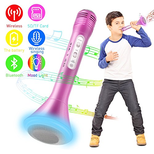 Wireless Karaoke Microphone, Kids Microphone with Bluetooth Speaker, Karaoke Mic Portable Karaoke Player Machine for Home Party Music Singing Playing for iPhone/Android/iPad/PC
