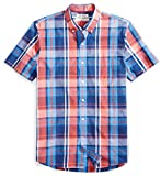 Goodthreads Men's Standard-Fit Short-Sleeve Large-Scale Plaid Shirt, Red/Blue, Large