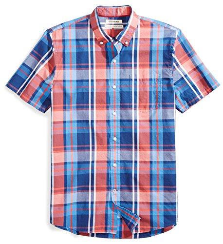 Goodthreads Men's Standard-Fit Short-Sleeve Plaid Poplin Shirt, red/blue Medium