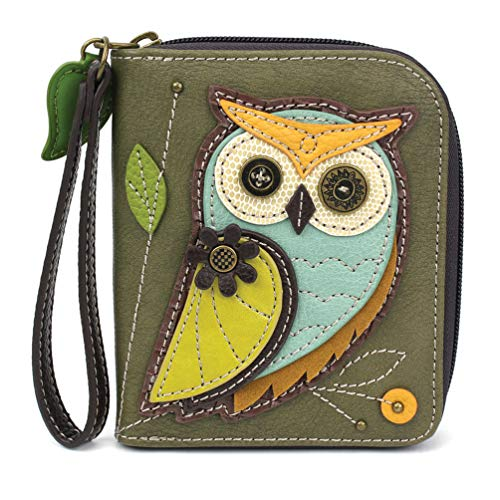 CHALA Zip-Around Wallet - Owl-A-Olive (Barn Charm Owl)