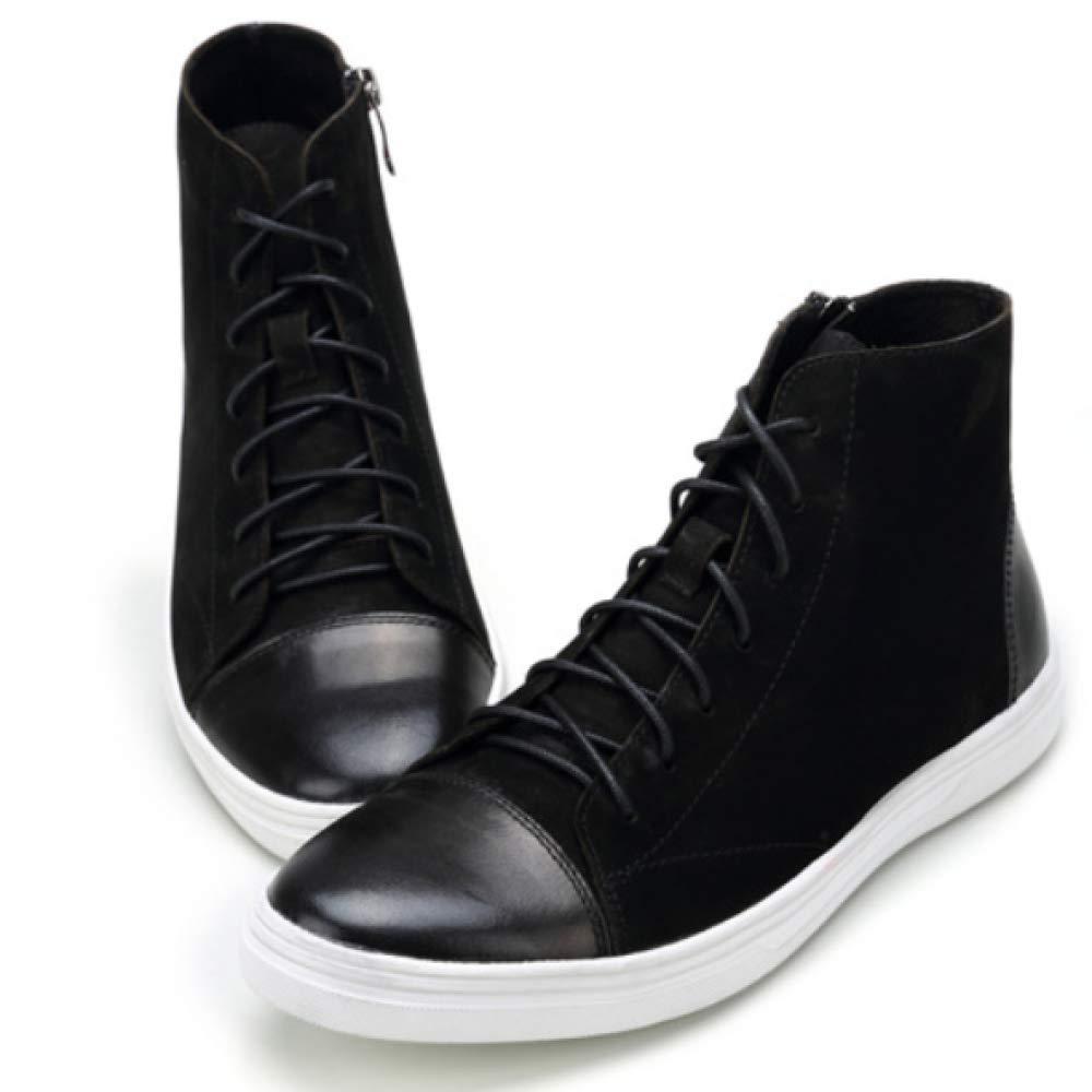 XDLJL High top Freizeitschuhe Herrenschuhe England Vintage Old Leder Herren Freizeitschuhe top Schuhes schwarz a1eb3e