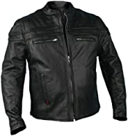 Hot Leathers Chamarra de Piel con Doble cordoncillo para Hombre, Negro, Negro