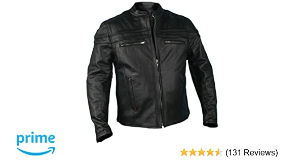 3cc50d454 Hot Leathers JKM1011,BLK,L Men's Heavyweight Black Leather Jacket with  Double Piping (Black, Large)