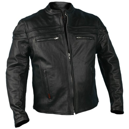 Hot Leathers JKM1011,BLK,L  Men's Heavyweight Black Leather Jacket with Double Piping (Black, Large) (Jacket Mens Black Coat Leather)