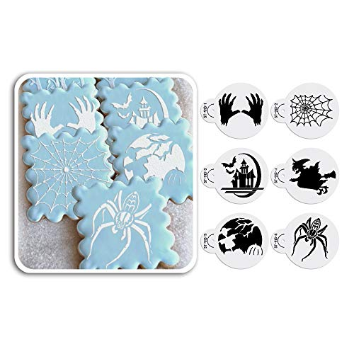 ART Kitchenware 2.76Inch 6pcs Halloween Skull,Spider,Ghost House,Witch Cookie Stencil Set Cake Decorating Supplies Cupcake Top Decoration Mold Semi-Transparent ST-913S
