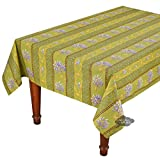60x96'' Rectangular Lavender Green Cotton Coated Provence Tablecloth by Le Cluny